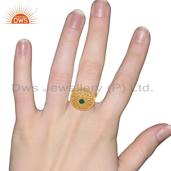 Wholesalers Natural Green Onyx Gemstone Gold Plated Silver Fashion Ring Supplier