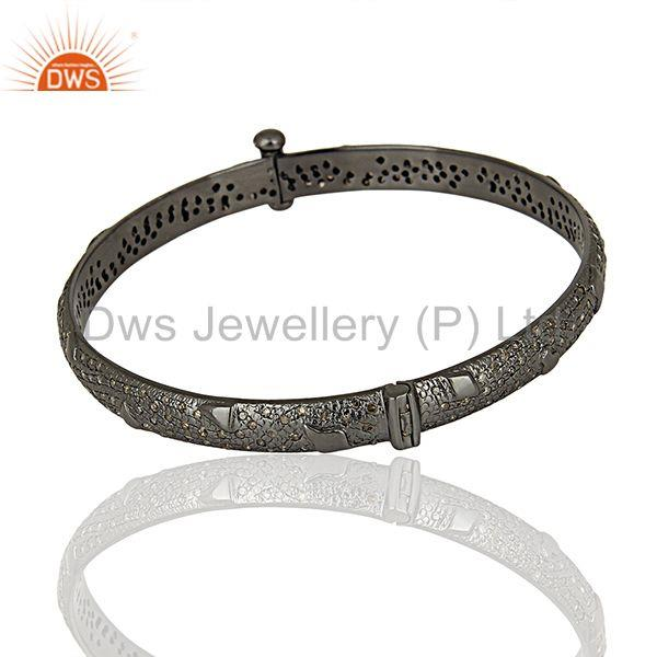 Black rhodium plated pave diamond band bangle jewelry manufacturer Exporter