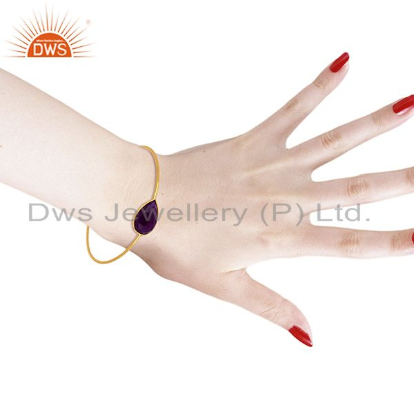 Aventurine gemstone gold plated silver bangle jewelry supplier Exporter