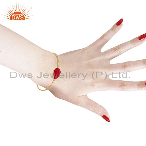 Red aventurine gemstone gold on 925 silver bangle jewelry supplier Exporter