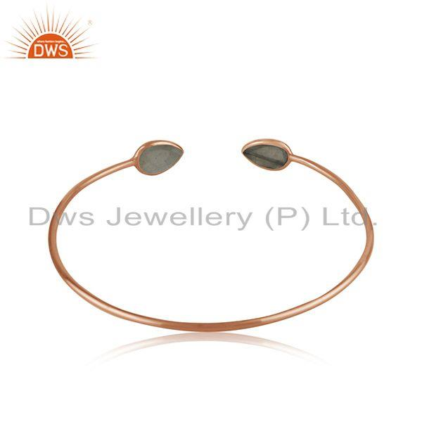 Wholesalers Labradorite Gemstone Rose Gold Plated 925 Silver Simple Cuff Bangle Manufacturer