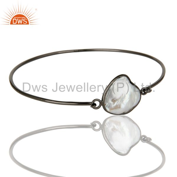 Natural white pearl silver black oxidized handmade openable bangle Exporter