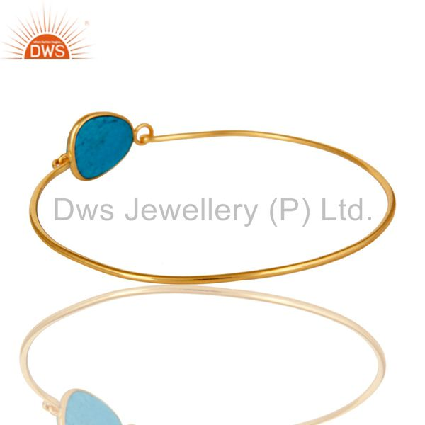 Turquoise matrix sterling silver gold over handmade openable bangle Exporter