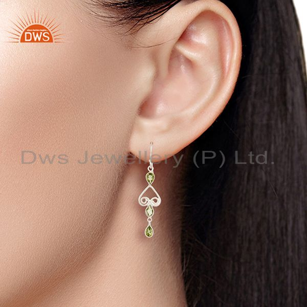 Wholesalers Mothers Day Gifts Handmade Solid 925 Sterling Silver Peridot Gemstone Earrings