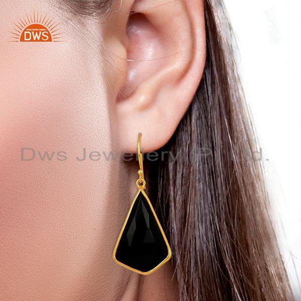 Wholesalers Black Onyx Bezel Set Sterling Silver 18K Gold Plated Dangle Earrings