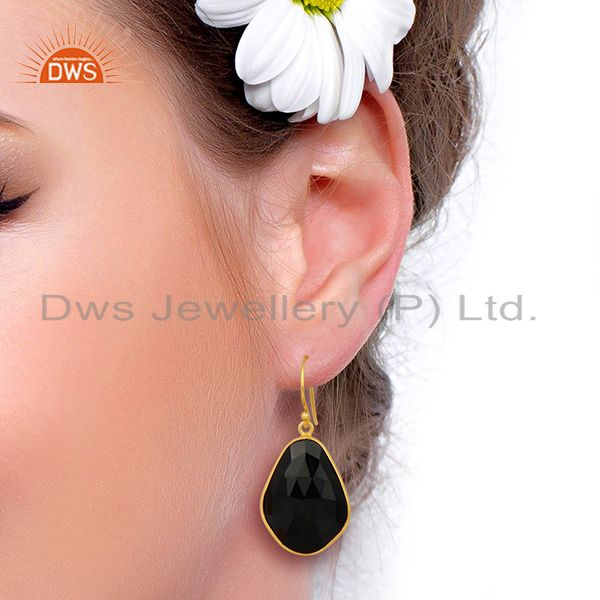 Wholesalers Black Onyx Large Single Drop Gold Plated 92.5 Sterling Silver Earring