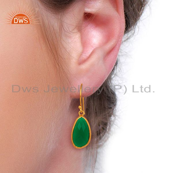 Wholesalers Green Onyx Handcrafted Artisan Drop Gold Plated Sterling Silver Jewelry