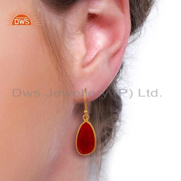 Wholesalers Red Onyx Handcrafted Artisan Drop Gold Plated Sterling Silver Jewelry