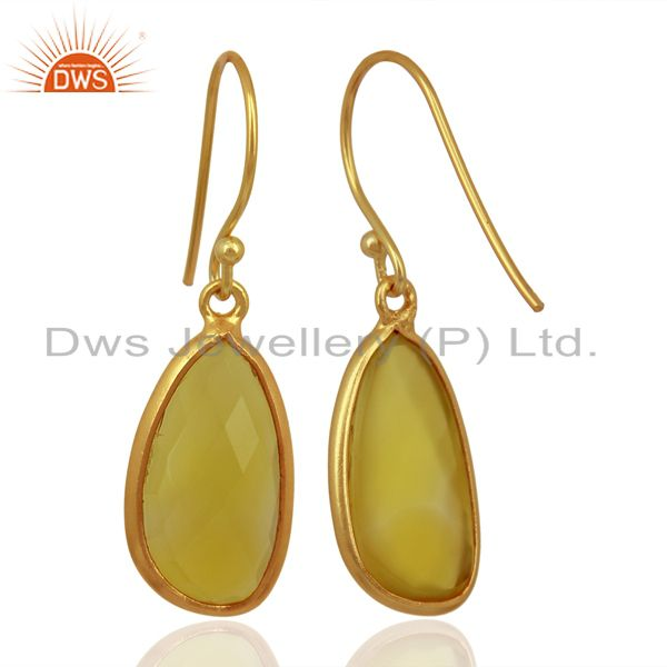 Wholesalers Yellow Chalcedony Handcrafted Artisan Drop Gold Plated Sterling Silver Jewelry