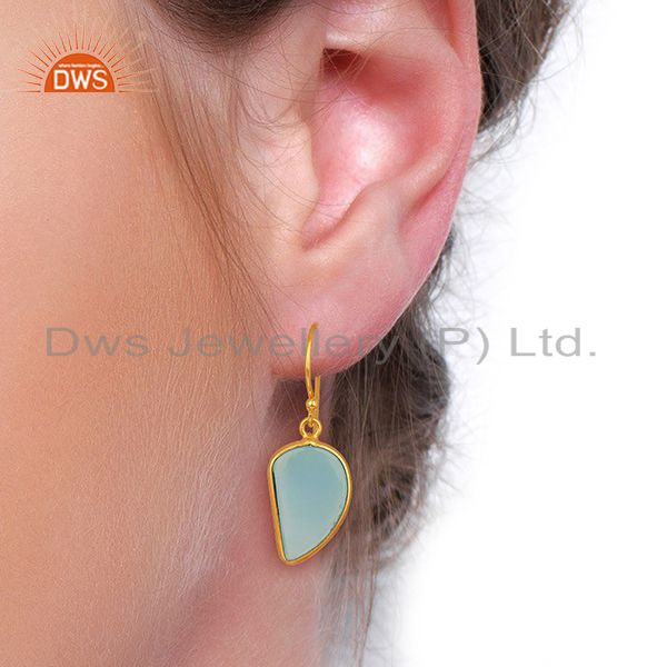 Wholesalers Blue Chalcedony Handcrafted Artisan Abstract Gold Plated Drop Wholesale Earrings