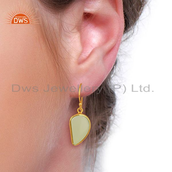 Wholesalers Prehnite ChalcedHandcrafted Artisan Abstract Gold Plated Drop Earrings