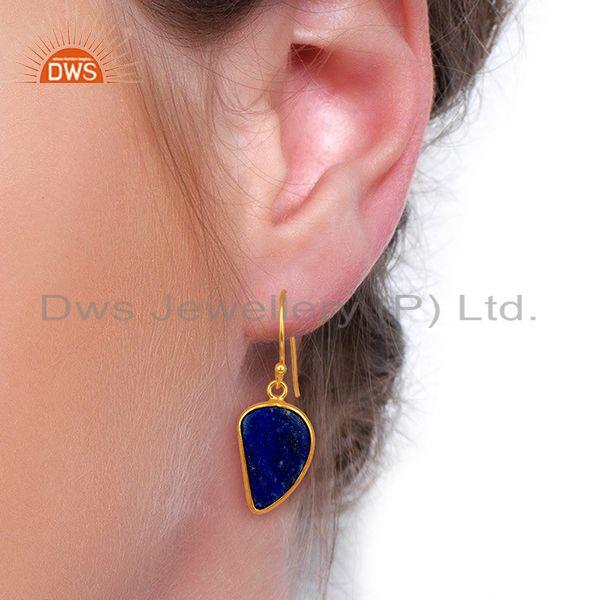 Wholesalers Lapis Handcrafted Artisan Abstract Gold Plated Drop Wholesale Earrings