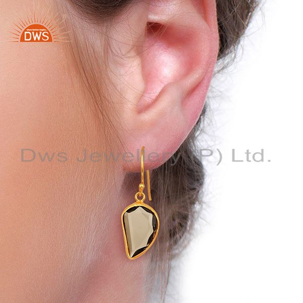 Wholesalers Smoky Topaz Handcrafted Artisan Abstract Gold Plated Drop Wholesale Earrings