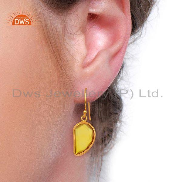 Wholesalers Yellow ChalcedonyHandcrafted Artisan Abstract Gold Plated Drop Wholesale Earring