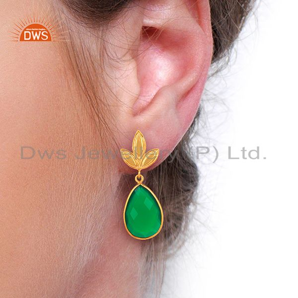 Wholesalers Yellow Gold Plated Silver Green Onyx Gemstone Earrings Manufacturer