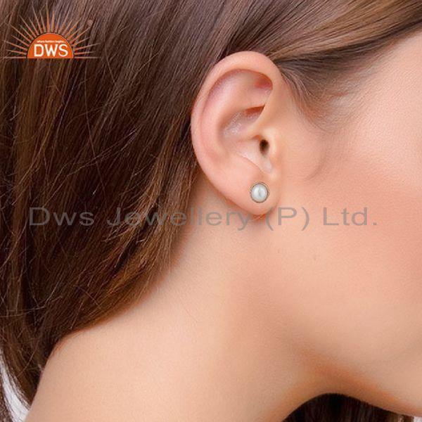 Wholesalers Rose Gold Plated 92.5 Silver Natural Pearl Stud Earring Jewelry