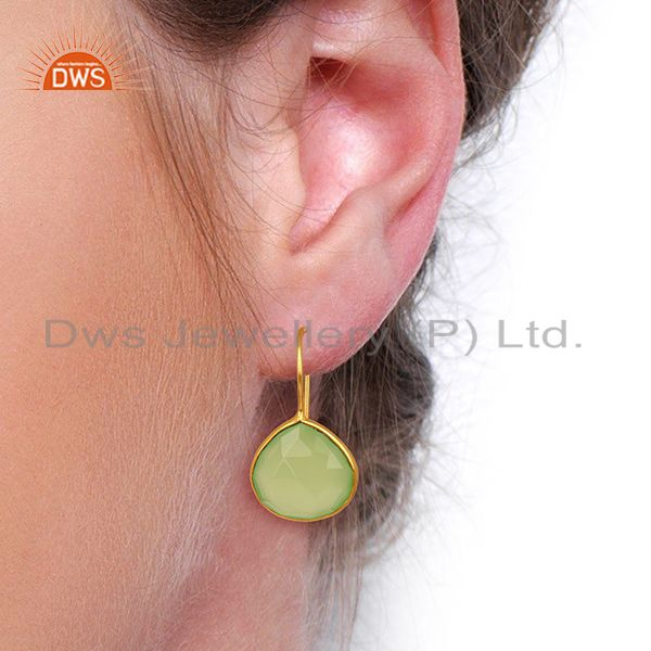 Wholesalers Prehnite Chalcedony Heart Shape 92.5 Sterling Silver Gold Plated Drop Earring