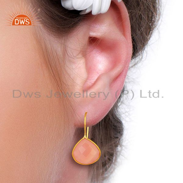 Wholesalers Rose Chalcedony Gemstone Gold Plated 925 Silver Earrings Manufacturer