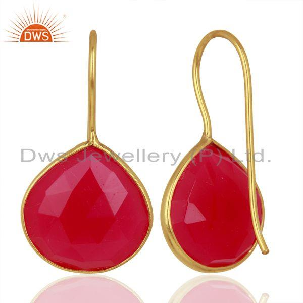 Wholesalers Pink Chalcedony Gemstone Gold Plated Designer Silver Earrings Jewelry