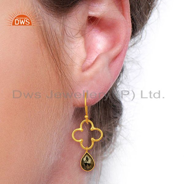 Wholesalers Pyrite Dangle 18K Yellow Gold Plated 925 Sterling Silver Earrings Jewelry