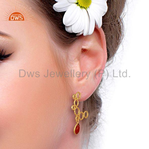 Wholesalers Red Onyx Gemstone Gold Plated Handmade Brass Fashion Earrings