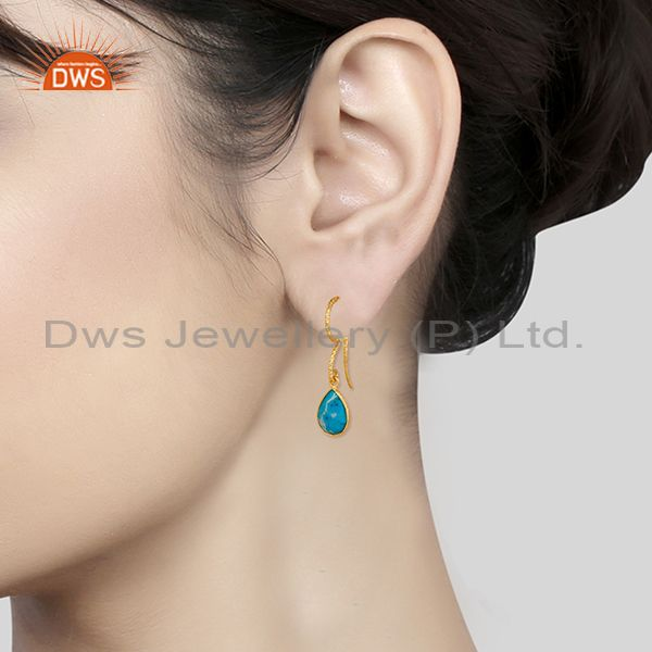 Wholesalers 18K Yellow Gold Plated 925 Sterling Silver Turquoise Gemsone Drops Earrings