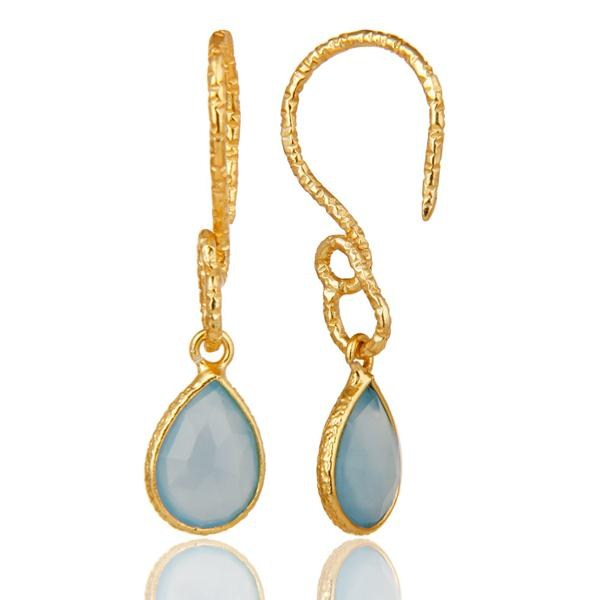 Wholesalers 22K Gold Plated Sterling Silver Bezel Set Natural Labradorite Dangle Earrings