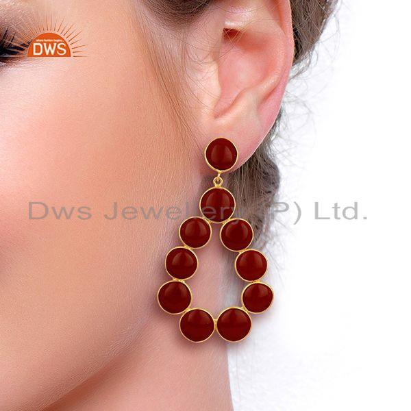 Wholesalers Red Jasper Dangle 18K Yellow Gold Plated 925 Sterling Silver Earrings
