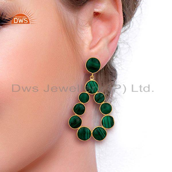 Wholesalers Malachite Dangle 18K Yellow Gold Plated 925 Sterling Silver Earrings