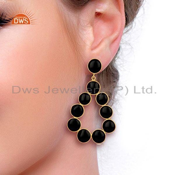 Wholesalers Black Onyx Dangle 18K Yellow Gold Plated 925 Sterling Silver Earrings