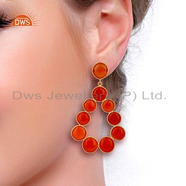 Wholesalers Red Onyx Dangle 18K Yellow Gold Plated 925 Sterling Silver Earrings