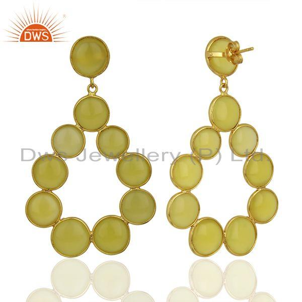 Wholesalers Yellow Chalcedony Dangle 18K Yellow Gold Plated 925 Sterling Silver Earrings