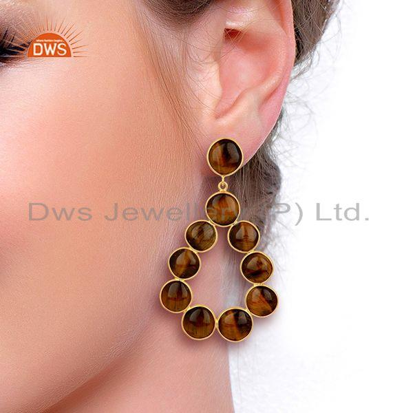 Wholesalers Yellow Tiger Eye Dangle 18K Yellow Gold Plated 925 Sterling Silver Earrings