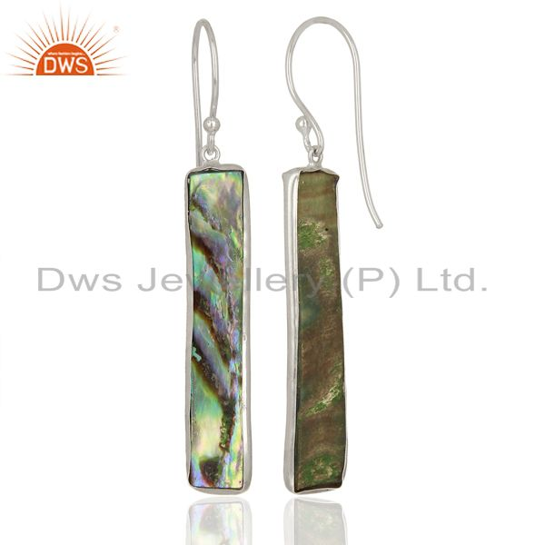 Wholesalers Abalone Shell Rectangle Sterling Silver White Rhodium Plated Dangle Earrings