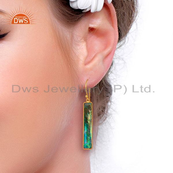 Wholesalers Abalone Shell Rectangle 92.5 Sterling Silver 18K Gold Plated Dangle Earrings