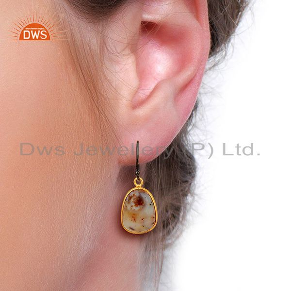 Wholesalers Yellow Gold Plated 925 Silver Ocean Jasper Gemstone Earrings Jewelry