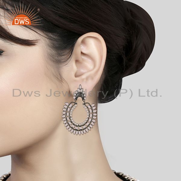 Wholesalers Black Rhodium Plated 925 Silver Zircon and Pearl Earrings for Womens