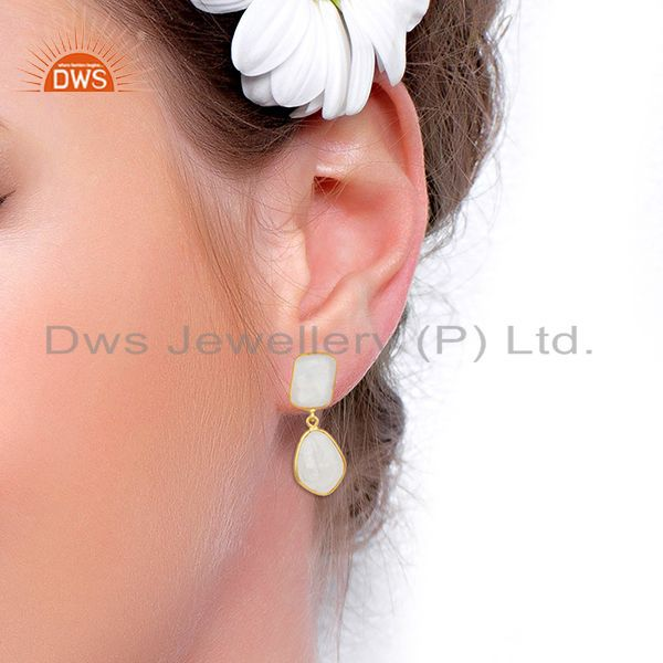 Wholesalers Rainbow Moonstone Gold Plated Brass Fashion Handmade Earrings Manufacturer India