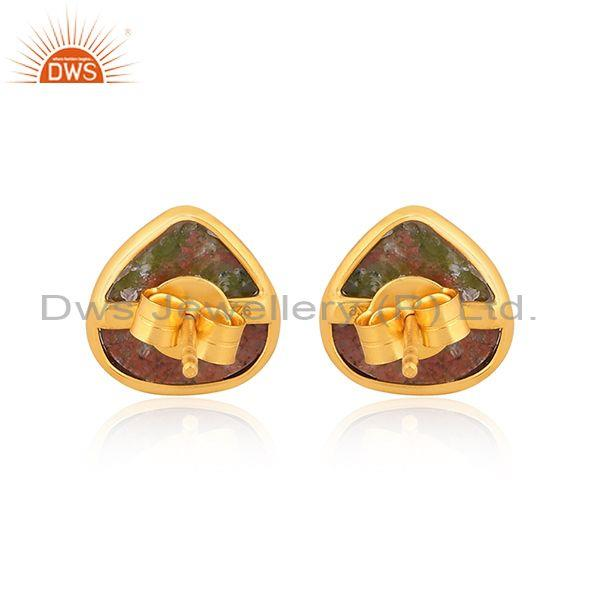 Unakite set gold on 925 silver pear shaped classic earrings