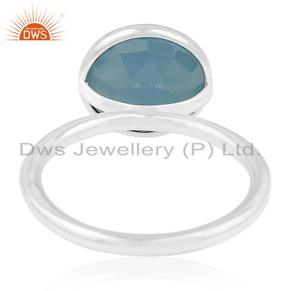 Wholesalers Blue Chalcedony Gemstone 925 Sterling Silver Rings Wholesalers