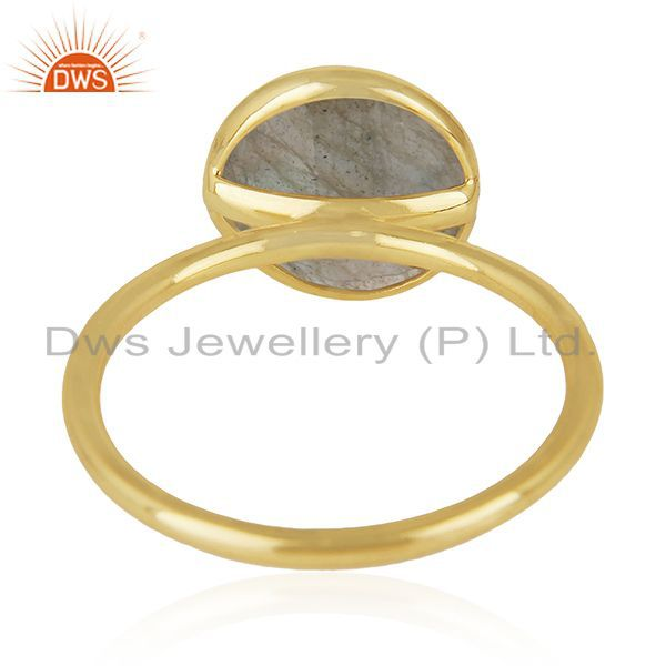Wholesalers Labradorite Gemstone 925 Sterling Silver Gold Plated Stackable Ring Manufacturer