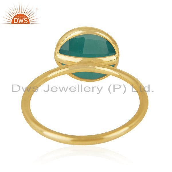 Wholesalers Green Onyx Gemstone 925 Sterling Silver Gold Plated Stackable Ring Manufacturers