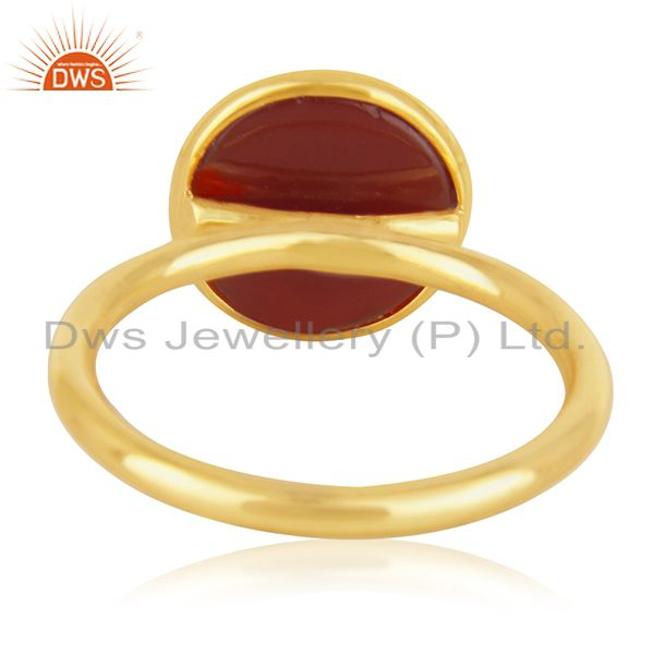 Wholesalers Red Onyx Gemstone Gold Plated 925 Silver Ring Jewelry Manufacturer for Brands