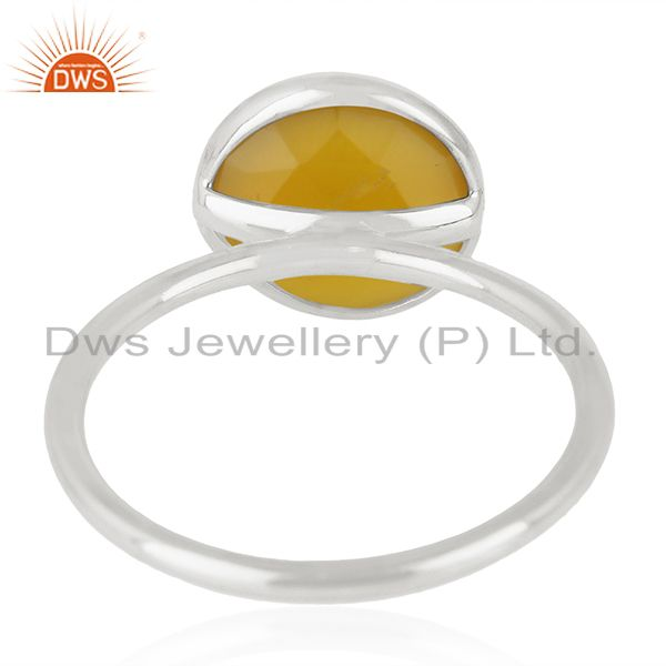 Wholesalers Yellow Chalcedony Gemstone 925 Sterling Fine Silver Ring Manufacturer of Rings