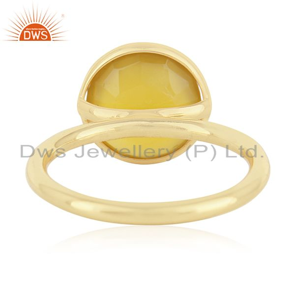 Wholesalers Yellow Chalcedony Gemstone Gold Plated Sterling Silver Ring Manufacturers