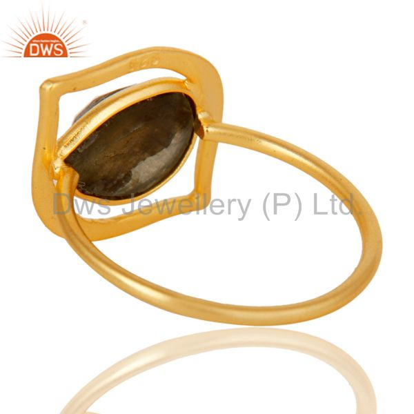 Wholesalers Art Deco 18K Gold Plated Sterling Silver Labradorite Designer Ring