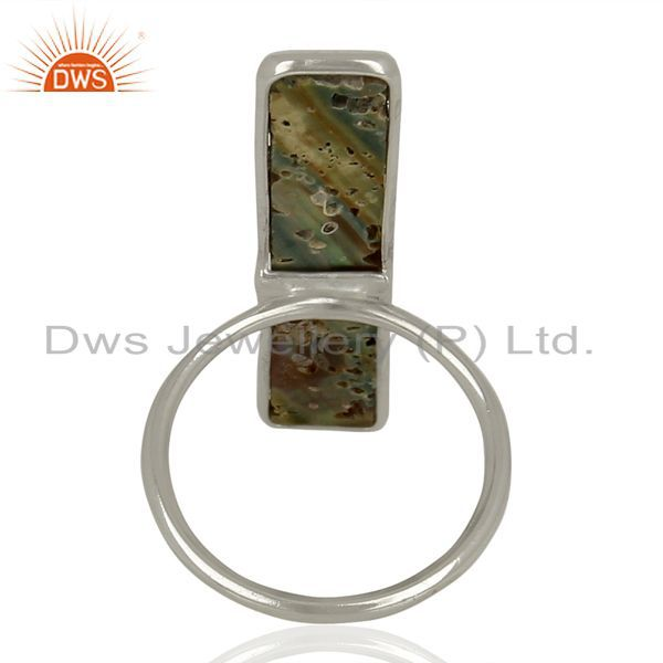 Wholesalers Natural Abalone Shell Rectangle 92.5 Sterling Silver Rings Gemstone Jewelry