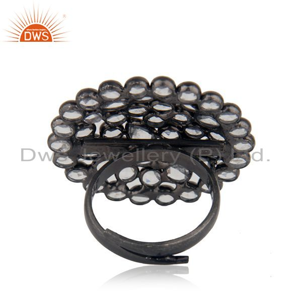 Wholesalers White Zircon Black Rhodium Plated 925 Silver Cocktail Ring Manufacturer