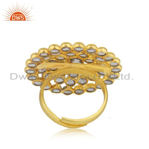 Wholesalers Natural CZ Beaded Gemstone Floral Gold Plated Silver Ring Jewelry