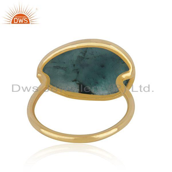 Wholesalers Solid 14k Yellow Gold Emerald Gemstone Handmade Ring Manufacturer in India